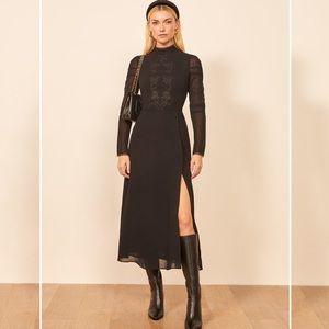 Reformation // Adelia Midi Long Sleeve Black Dress, Size 4, NWT